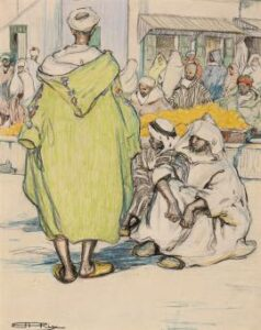 Lot 85, Hilda Rix Nicholas, Moroccan Scene Tangiers, c1913, est. $8,000-$12,000. Hilda draws on her superior skills