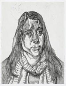 Lot 49, Lucian Freud, Portrait Head, 2001, est. $28,000-$38,000. Friend of Freud