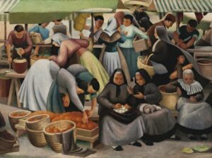 Lot 13, Sheila Hawkins, Catalan Market, c1939, est. $30,000-$40,000. Oranges are not the only Fruit