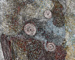 Lot 106, Bill Whiskey Tjapaltjarri, Rockholes and Country near the Olgas, 2006, est. $15,000-20,000. There's whiskey in the Jar